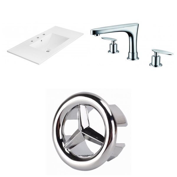 American Imaginations Xena 35.5 x 18.25-in White Ceramic Widespread Vanity Top Set Chrome Bathroom Faucet and Overflow Cap