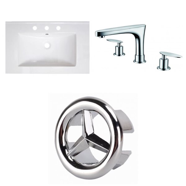 American Imaginations Roxy 30 x 18.5-in White Ceramic Widespread Vanity Top Set Chrome Bathroom Faucet and Overflow Cap