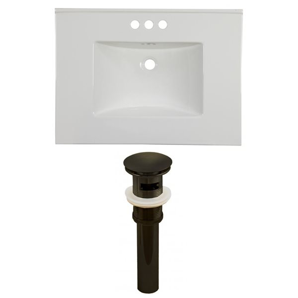 American Imaginations Flair 30.75 x 22.25-in White Ceramic 4-in Centerset Vanity Top Set Oil Rubbed Bronze Sink Drain