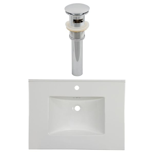 American Imaginations Flair 30.75 x 22.25-in White Ceramic Single Hole Vanity Top Set Chrome Sink Drain