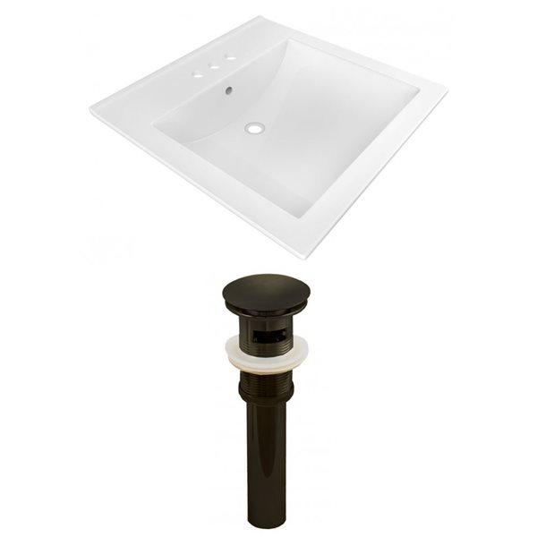 "American Imaginations 21.5"" x 18.5""  White Ceramic Vanity Top Set 4 -in Centreset Oil Rubbed Bronze Overflow Cap"