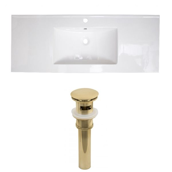 American Imaginations Flair 48.75 x 22-in White Ceramic Single Holed Vanity Top Set Gold Sink Drain