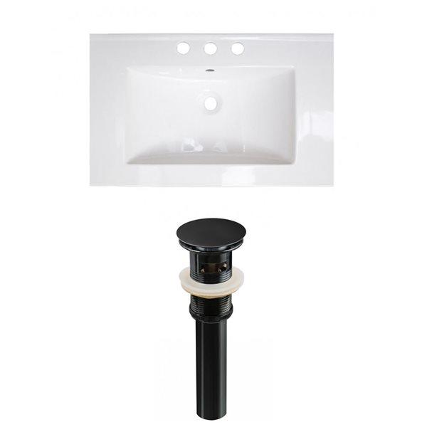American Imaginations Flair 25 x 22-in White Ceramic Widespread Vanity Top Set Black Sink Drain