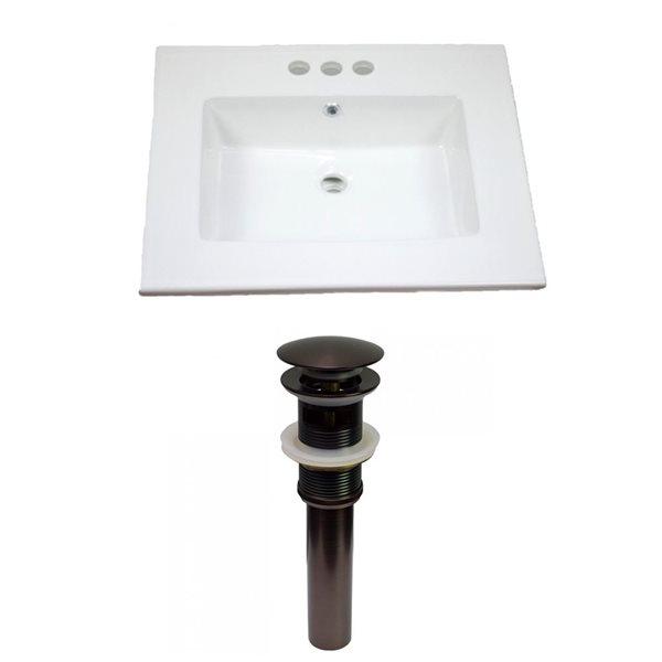 American Imaginations Flair 25-in x 22-in White Ceramic Vanity Top Set 4-in Centreset Oil Rubbed Bronze Bathroom Sink Drain