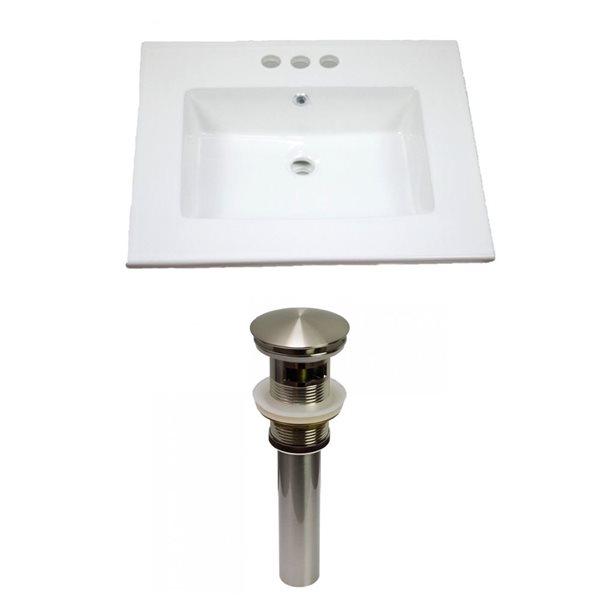 American Imaginations Flair 25-in x 22-in White Ceramic Vanity Top Set 4-in Centreset Brushed Nickel Bathroom Sink Drain