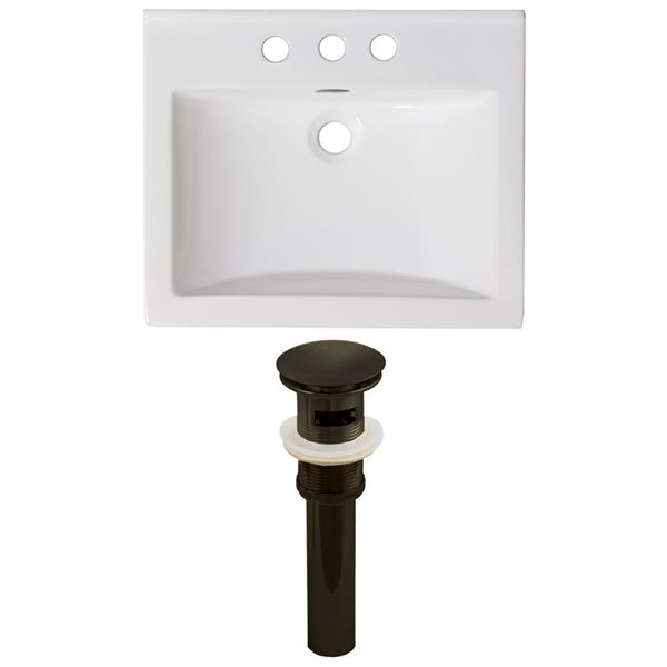 American Imaginations Omni 21.5-in x 18.5-in White Ceramic Vanity Top Set 4-in Centreset Oil Rubbed Bronze Bathroom Sink Drain