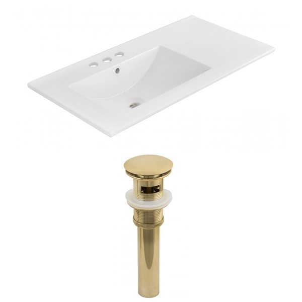 American Imaginations 35.5 x 18.25-in White Ceramic 4-in Centerset Vanity Top Set Gold Sink Drain