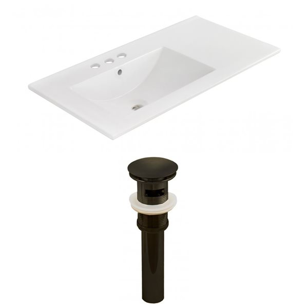 American Imaginations 35.5 x 18.25-in White Ceramic 4-in Centerset Vanity Top Set Oil Rubbed Bronze Sink Drain