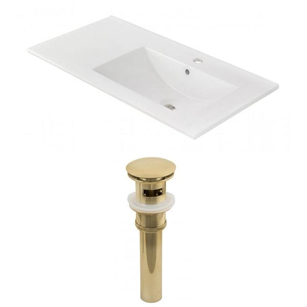 American Imaginations 35.5-in x 18.25-in White Ceramic Vanity Top Set Single Hole Gold Bathroom Sink Drain