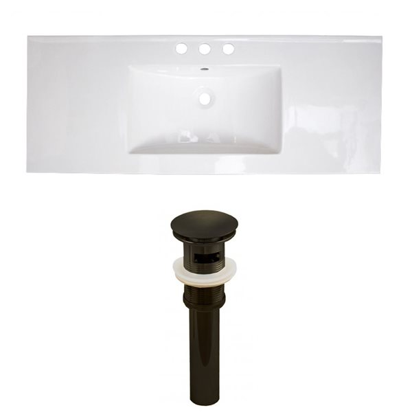 American Imaginations 39.75 x 18.25-in White Ceramic Widespread Vanity Top Set Oil Rubbed Bronze Sink Drain