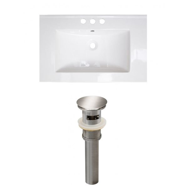 American Imaginations Vee 21-in x 18.5-in White Widespread Ceramic Top Set With Brushed Nickel Sink Drain