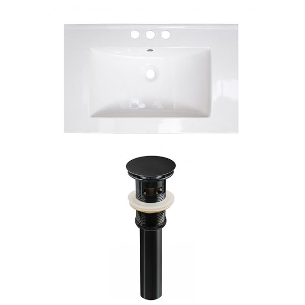 American Imaginations Vee 21-in x 18.5-in White Widespread Ceramic Top Set With Black Sink Drain