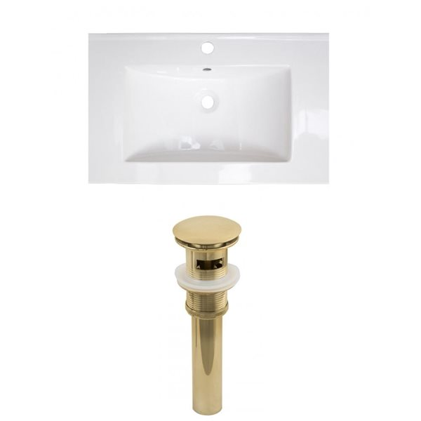 American Imaginations Vee 21-in x 18.5-in White Singlehole Ceramic Top Set With Gold Sink Drain