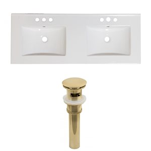 American Imaginations Xena 59-in x 18-in White Ceramic Widespread Vanity Top Set with Gold Sink Drains