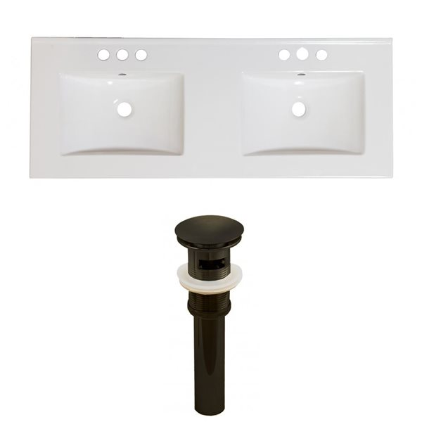 American Imaginations 59-in x 18-in White Ceramic Xena 4-in Centreset Vanity Top Set with Oil Rubbed Bronze Sink Drains