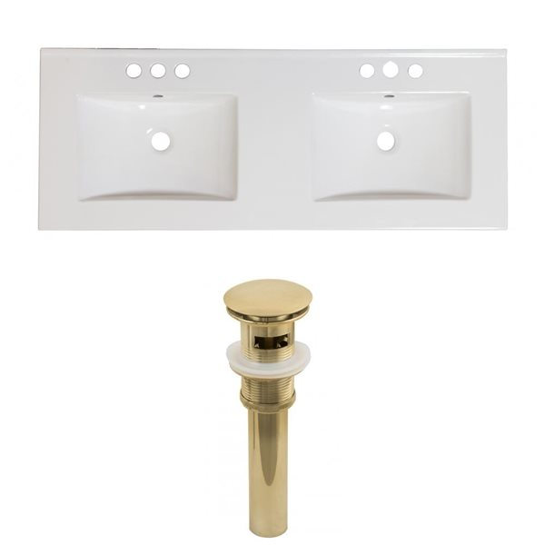 American Imaginations 59-in x 18-in White Ceramic Xena 4-in Centreset Vanity Top Set with Gold Sink Drains