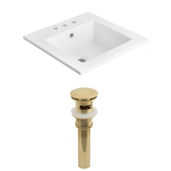 American Imaginations 21-in x 18-in x 4-in White Ceramic Top Set With Gold Drain