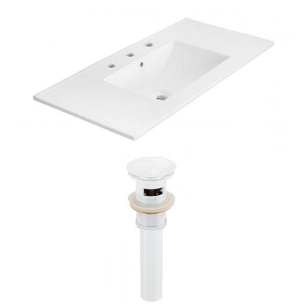 American Imaginations Xena 35.5 x 18.25-in White Ceramic Widespread Vanity Top Set White Sink Drain
