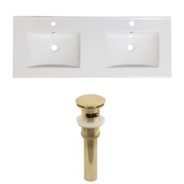 American Imaginations Xena Single Hole 48- in x 18.25- in White Ceramic Top Set With Gold Drains