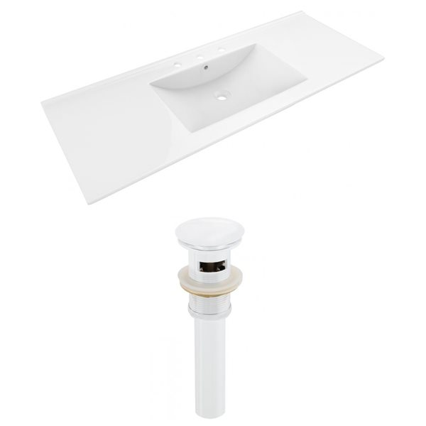 American Imaginations 48 x 18.5-in White Ceramic Whidespread Vanity Top Set White Sink Drain