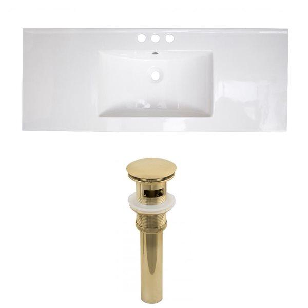 American Imaginations Roxy 48 x 18.5-in White Ceramic 4-in Centerset Vanity Top Set Gold Sink Drain