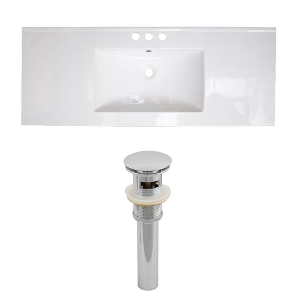 American Imaginations Roxy 48 x 18.5-in White Ceramic 4-in Centerset Vanity Top Set Chrome Sink Drain