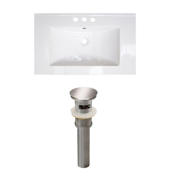 American Imaginations Roxy 32 x 18.25-in White Ceramic 4-in Centerset Vanity Top Set Brushed Nickel Sink Drain