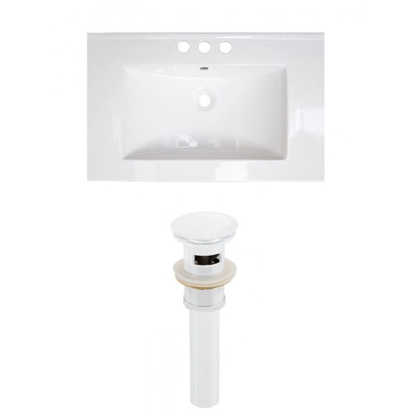 American Imaginations Roxy 24.25-in x 18.25-in White Ceramic Top Set with White Sink Drain