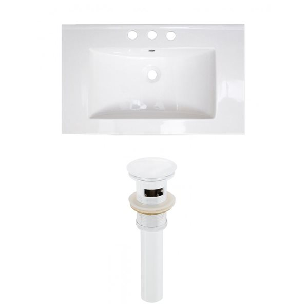 American Imaginations Roxy 32 x 18.25-in White Ceramic Widespread Vanity Top Set White Sink Drain