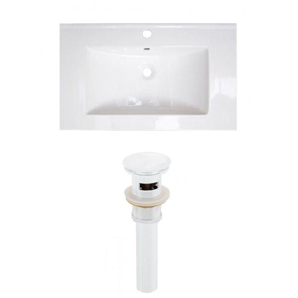 American Imaginations Roxy 32 x 18.25-in White Ceramic Single Hole Vanity Top Set White Sink Drain