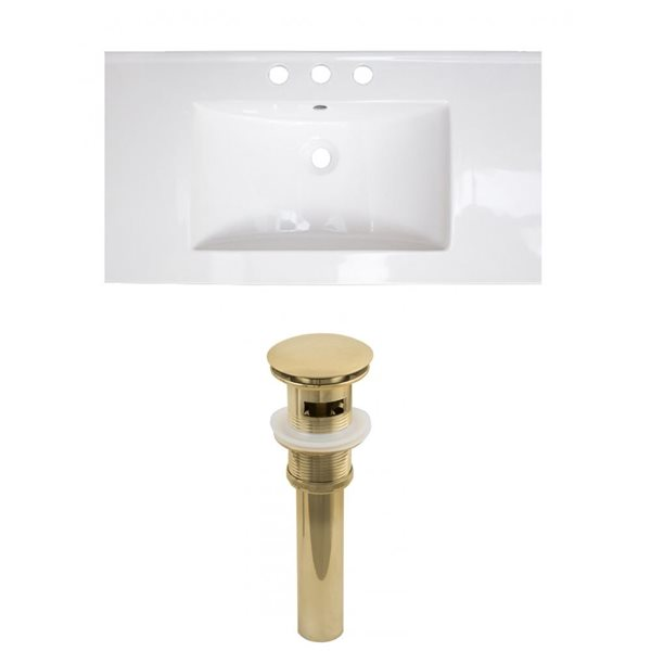 American Imaginations Flair 32-in x 18.25-in White Widespread Ceramic Top Set With Gold Sink Drain