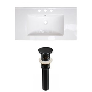 American Imaginations Flair 32-in x 18.25-in White Widespread Ceramic Top Set With Black Sink Drain