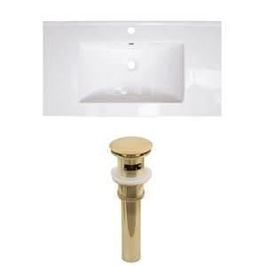 American Imaginations Flair 32-in x 18.25-in White Singlehole Ceramic Top Set With Gold Sink Drain