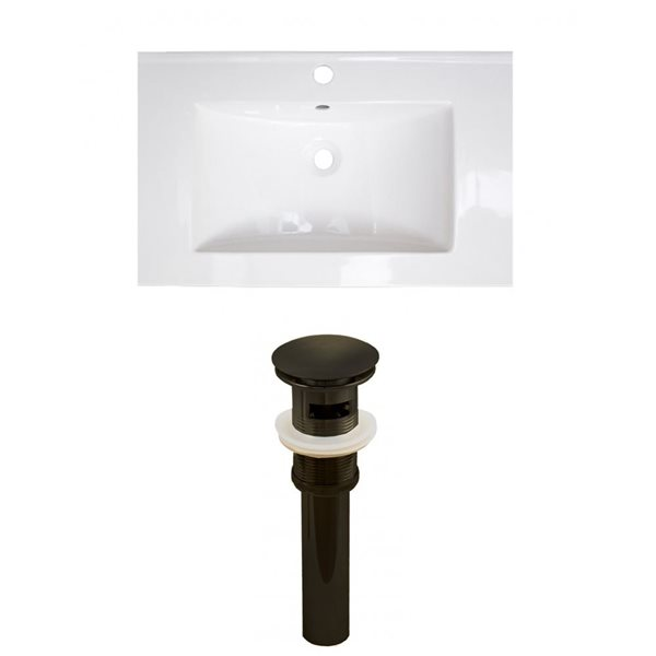 American Imaginations Flair 23.75-in x 18.25-in White Ceramic Vanity Top Set Single Hole Oil Rubbed Bronze Bathroom Sink Drain