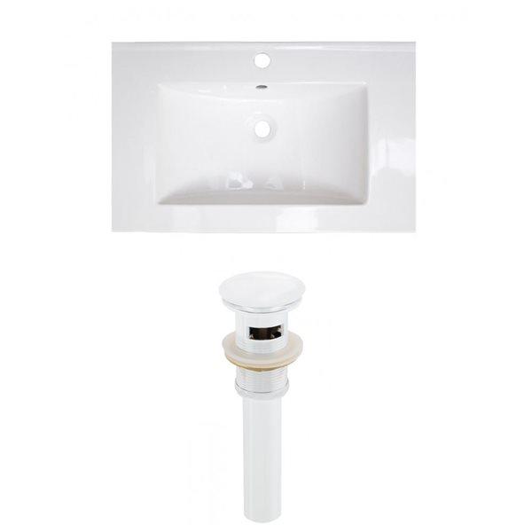 American Imaginations Flair 23.75-in x 18.25-in White Ceramic Vanity Top Set Single Hole White Bathroom Sink Drain