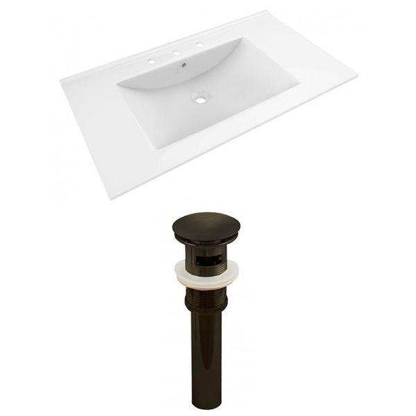 American Imaginations Drake 35.5-in x 19.75-in White Ceramic Vanity Top Set Widespread Oil Rubbed Bronze Bathroom Sink Drain