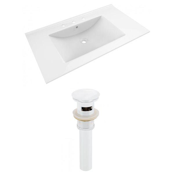 American Imaginations Drake 35.5-in x 19.75-in White Ceramic Vanity Top Set Widespread White Bathroom Sink Drain
