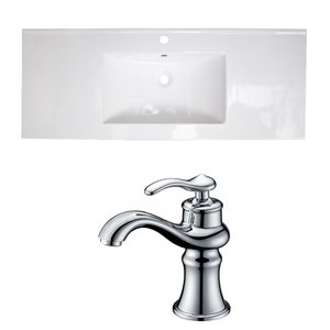 American Imaginations Flair 48.75 x 22-in White Ceramic Single Holed Vanity Top Set Chrome Bathroom Faucet