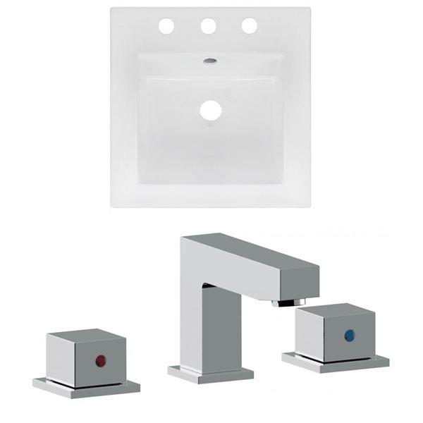 American Imaginations 16.5 x 16.5-in White Ceramic Widespread Vanity Top Set Chrome Bathroom Faucet