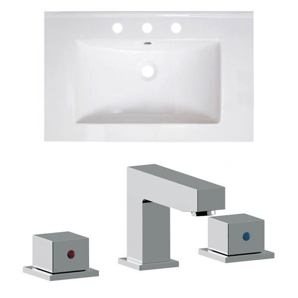American Imaginations Vee 30-in x 18.5-in White Widespread Ceramic Top Set With Chrome Faucet