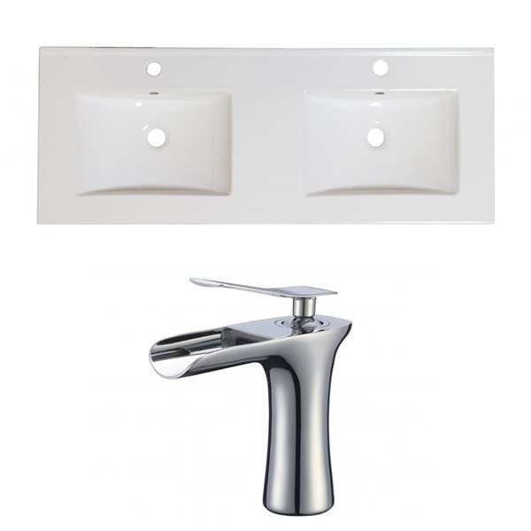 American Imaginations Xena 59-in x 18-in White Ceramic Single Hole Vanity Top Set with Chrome Faucets