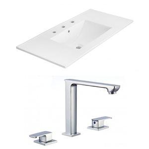 American Imaginations Xena 35.5 x 18.25-in White Ceramic Widespread Vanity Top Set Chrome Bathroom Faucet