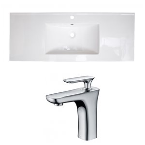 American Imaginations Roxy 48 x 18.5-in White Ceramic Single Hole Vanity Top Set Chrome Bathroom Faucet