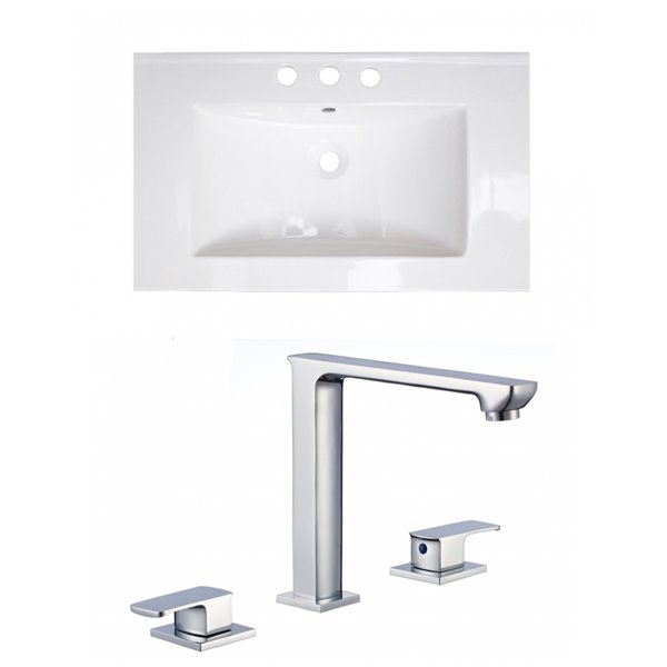 American Imaginations Roxy 32 x 18.25-in White Ceramic Widespread Vanity Top Set Chrome Bathroom Faucet