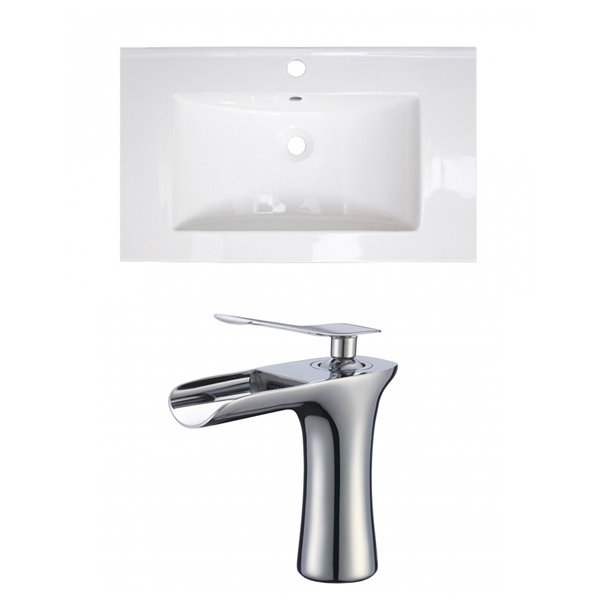 American Imaginations Roxy 32 x 18.25-in White Ceramic Single Hole Vanity Top Set Chrome Bathroom Faucet