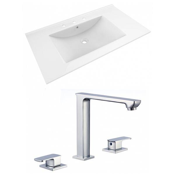 American Imaginations 35.5-in x 19.75-in White Ceramic Vanity Top Set Widespread Chrome Bathroom Faucet