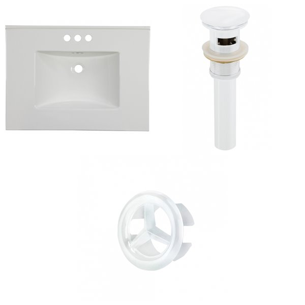 American Imaginations Flair 30.75-in x 22.25-in White Widespread Ceramic Top Set With White Overflow Cap And Sink Drain