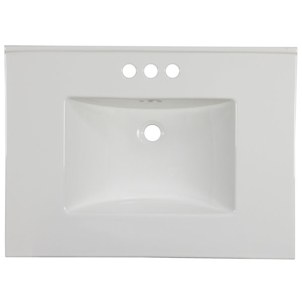 American Imaginations Flair 30.75-in x 22.25-in White Widespread Ceramic Top Set With Chrome Overflow Cap And Sink Drain