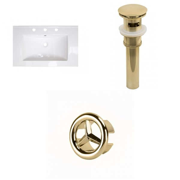 American Imaginations 24-in x 18-in Widespread  White Ceramic Single Sink Gold Faucet with Overflow Cap