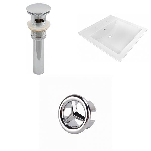 American Imaginations 21.5 x 18.5-in White Ceramic Widespread Vanity Top Set Chrome Sink Drain Overflow Cap